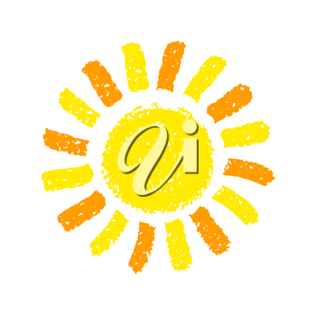 Hand Drawn Sun. Painted with oil pastel crayons. Decorative graphic element for children books, scrapbooking, birthday card, summer party poster, vacation destination flyer. Vector illustration.