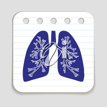 Doodle Lungs icon. Infographic symbol hand drawn with pen. Skribble style graphic design element. Web button. Medical symbol on a notepad page with lines.