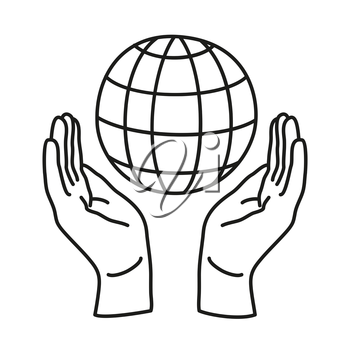 Doodle icon. Two hands holding a globe. Save the Earth. Environmental concept. Line art icon for web, mobile and infographics. Vector illustration.