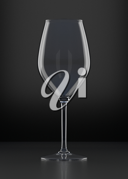 Empty Wine Glass on black background. Drinking glassware. 3D illustration.