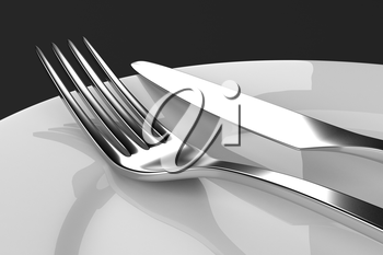 Fork and knife with plates. Serving table. Two empty plates ready for food. Photo realistic 3D illustration. Cutlery, kitchen silverware. For use in menu, restaurant printables, web site.