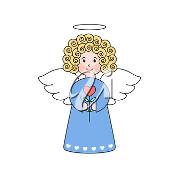 Doodle angel with a heart. Cute girl with wings. Romantic greeting card. Grapphic design element for wedding and baby shower invitation, Valentines Day card. Cartoon angel with flower.