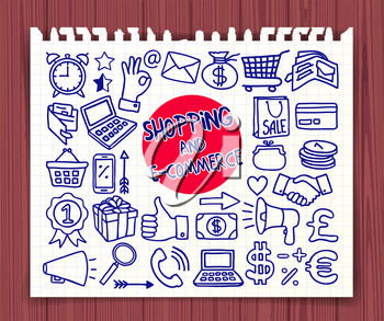 Doodle Shopping and E-commerce icons set. Hand drawn symbols. Graphic elements for web sites, corporate printables, educational posters, infogrpahics. Vector illustration.