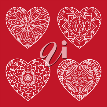 Doodle heart Valentine s Day card. Outline floral design element in a heart shape. Coloring book pattern. Decorative hearts set. Love, wedding, engagement concept. Vector illustration.