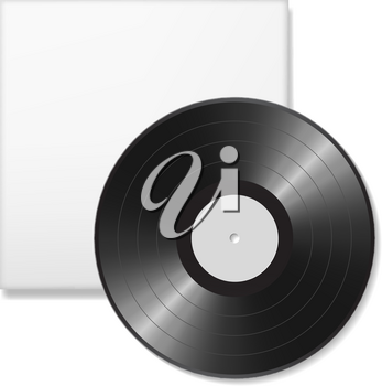 Blank vinyl disc mock up with cover. White background. Realistic empty template of a music record plate. Graphic design element for scrapbooking, musical flyer or poster, web site. Vector illustration