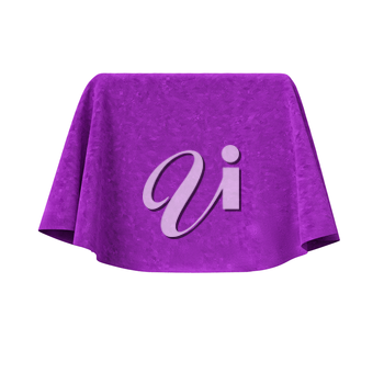 Box covered with violet velvet fabric. Isolated on white background. Surprise, award, prize, presentation concept. Reveal the hidden object. Raise the curtain. Photo realistic 3D illustration.