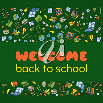 Doodle Welcome Back to School poster. Hand drawn stationary graphic design elements for school invitation template, sale flyer, greeting card. Education supplies sale concept idea. Vector illustration