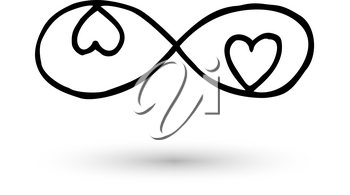 Infinity symbol with hearts. Icon hand drawn with ink brush. Modern doodle with outline. Endless love, wedding, engagement concept. Graphic design element invitation, card, tattoo. Vector illustration