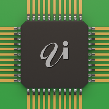 Microchip unit on green plate. Computer chipset circuit. Computer hardware parts concept. Technology, electronic industry, research and development, future gadgets concept.