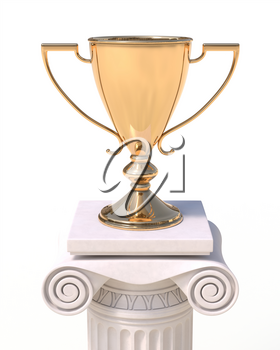 Golden trophy cup on an antique column in greek style isolated on white background. Victory, best product, service or employee, first place concept. Achievement in sports.