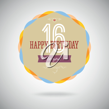 Congratulatory badge for the sixteenth. 16 years happy birthday. Congratulatory sign for anniversary. Vintage vector typography.