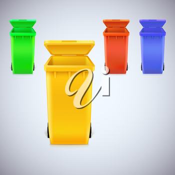 Colored waste bins with the lid open. Trash set, vector illustration, isolated