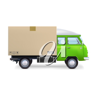 Green delivery commercial van Isolated on white background.