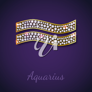 Golden Aquarius zodiac signs with diamonds, editable vector illustration