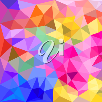 Abstract polygonal triangles background. Colorful vivid background of colored triangles with kaleidoscope effect