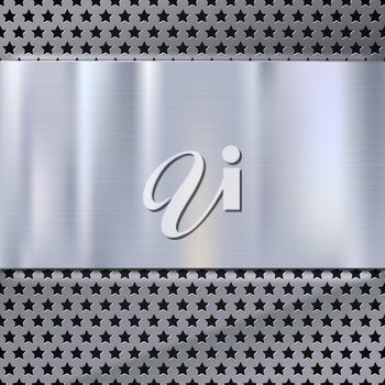 Metal plate over grate texture, stainless steel metal with place for your text, vector illustration. Technological background for garages, auto shops and just creativity