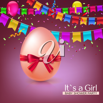 It s a girl baby shower concept with red ribbon bow and egg. Vector illustration. Party invitation template with carnival flag garlands, confetti, streamers and tinsel.