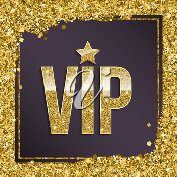 VIP premium card. Golden design template with glittering shinet. Decorative background with gold glitter shine text badge. Sign of exclusivity with bright golden glow. Template for vip banners or card