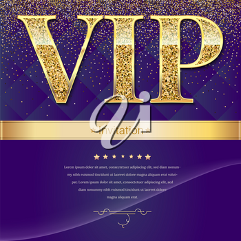 Golden symbol of exclusivity, the label VIP with glitter. Very important person - VIP invitation mock-up on elite, abstract quilted background, Template for vip banners, invitation or cover.