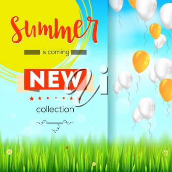 Summer new collection. Stylish advertisement text poster on blue summer sky backdrop with clouds, flying balloons, grass, daisies, ladybugs. Template mock-up for online shopping, advertising actions.