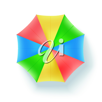 Multicolor beach umbrella, top view. Icon of open parasol isolated on white background. Vector concept 3D illustration, object of summer holidays on sunny beach, flat lay.