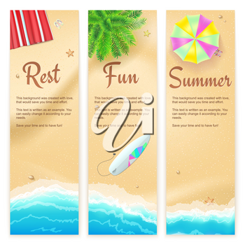 Set of summer travel banners. Tropical landscape, blue sea, gold sand, beach Mat, palm, surfboard, top view. Vertical template for summer touristic events and travel agency actions