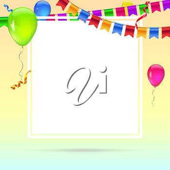 Celebrate colorful background. Template for greetings or birthday card, invitation with hanging garlands of colored flags and streamers and place for your text