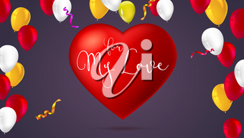 Romantic greeting card. Big red heart with color, inflatable balloons, abstract, colored pattern on a background. For my love, festive postcard template for greetings for your loved ones