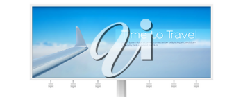 View of the sky and wing of the aircraft from the window. Air transport in the blue clear sky on billboard isolated on white. Time to travel. Realistic vector 3d illustration for travel agency