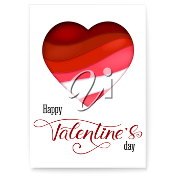 Red heart from paper with cut out layers. Simple greeting poster for Valentines days. Modern abstract background with design of calligraphic text. Art holidays handwritten lettering.