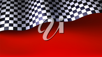 Waving checkered racing flag on red background. Flag for car or motorsport rally. Three dimensional vector illustration for races, competitions, lotto, bookmakers office, promotion of rates.