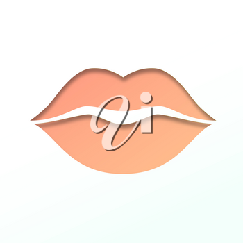 Contour of lips cut from paper. Outline icon of mouth, vector pictogram. Symbol of kiss, paper art carving.