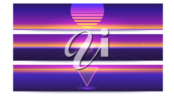 Sci fi abstract long horizontal banners with the sun on the horizon. Retro gradient, vintage style of the 80s. Digital cyber world, virtual surface with rays. 3D illustration for design of layout