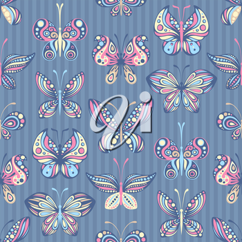 Various butterflies on striped background. Pastel colours. EPS 8.