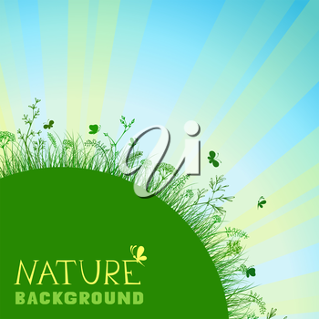 Summer background with green grass and sunburst. There is place for your text.