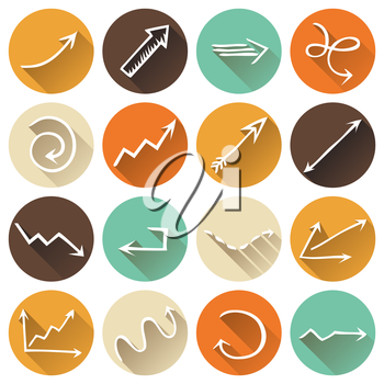 Various arrows with long shadow for your design and infographics.