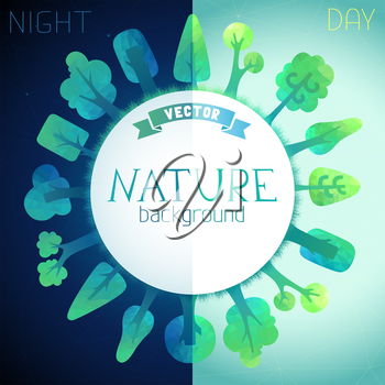 Vector geometric trees and grass silhouettes. There is place for your text in the center.