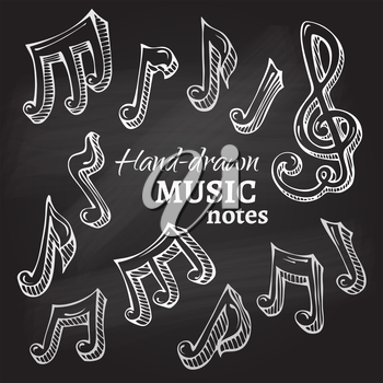 Hand-drawn sketch music notes on blackboard background.