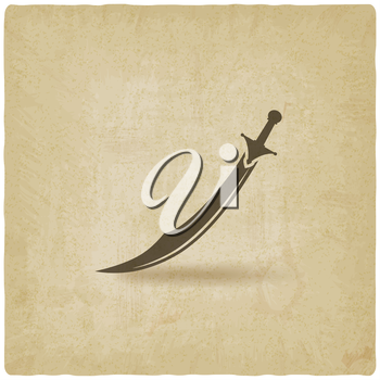 Arabian saber scimitar old background - vector illustration. eps 10