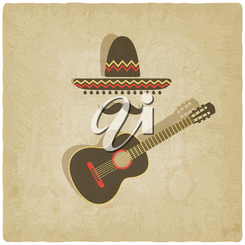 Mexican sombrero and guitar old background - vector illustration. eps 10