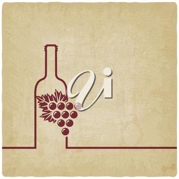 wine menu with bottle and grapes old background - vector illustration. eps 10