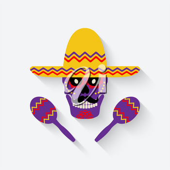 concept for Day of the dead. sugar skull in sombrero with maracas - vector illustration. eps 10
