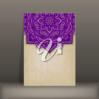 old paper card with purple floral circular pattern - vector illustration. eps 10