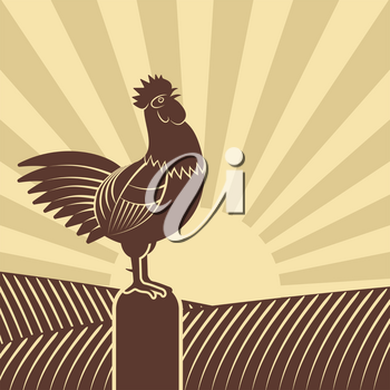 Rooster crowed in farm fields against rising sun. vector illustration - eps 8