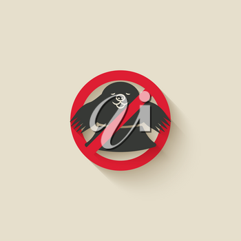 Mole in hole. Animal pest icon stop sign. Vector illustration