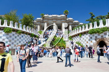 BARCELONA, SPAIN - APRIL,26: entrance in Park Guell on April 26, 2012 in Barcelona. It was designed by the Catalan architect Antoni Gaudi and built in the years 1900 to 1914