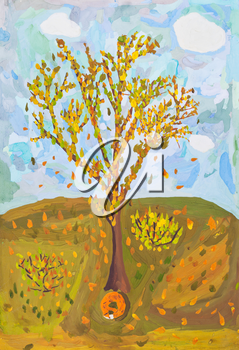 childs painting - falling yellow leaves from autumn tree