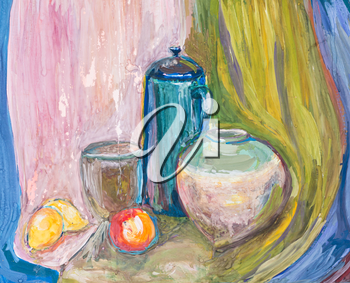 childs painting - still life with metal kettle and ceramic bowls on brown drape