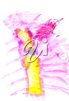 childs drawing - abstract yellow and pink fairy myriapod