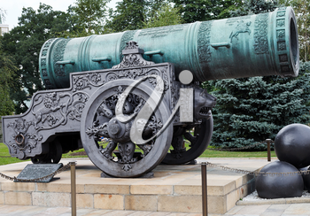 largest Tsar Cannon monument in Moscow Kremlin, Russia